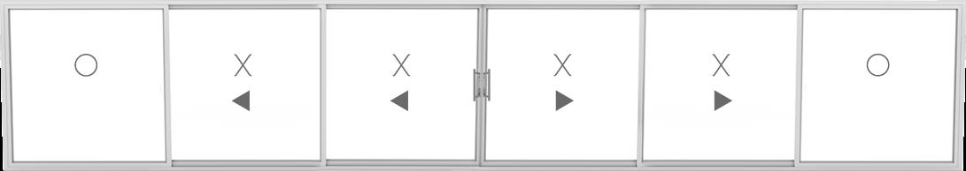 OXXXXO (2 fixed, 4 sliding)